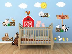 Farm theme nursery, farm theme kids room, farm animal theme wall decor, farm animal wall art, personalized name wall decal    Worried about the decals not sticking? Try our product risk free! 100% MONEY BACK GUARANTEE within 30 days of receiving your shipment. If your decals have any trouble sticking we will give you the choice of replacements or a full refund!     [ITEM DESCRIPTION]    These easy to apply decals are printed on opaque material making them perfect for flat, smooth surfaces of…