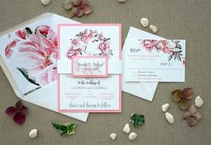 This invitation is a SAMPLE. CUSTOM ORDERS ---> Please, contact me by etsy conversation. ------- WE LOVE with this invitation!! Its oh-so-pink!!! Is a Floral Garden Wedding Invitation Sample and is unique. The Pink is around all invitation with matching colors on the wreath. If you