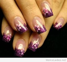 Purple glittery tips with flower design. Acrylic nails. Purple.
