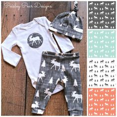 Sweet baby sleeper outfit - great for a newborn or take home outfit from the hospital - in a variety of colors like orange, mint, black and white - featuring a moose with trees - Baby Organic Moose Gift Set Cute for Shower Gift  Pants Hat Onesie in 4 different choices, aqua, gray, white, and coral