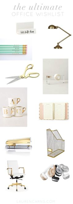 the ultimate office wishlist. gold and pretty desk items from and (desk organization diy office) Home Office Space, Office Workspace, Home Office Decor, Office Ideas, Office Chic, Office Spaces, Office Accessories, Trendy Home, Desk Organization