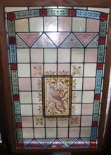 English painted and fired stained glass window featuring a bird, Shop Rubylane.com