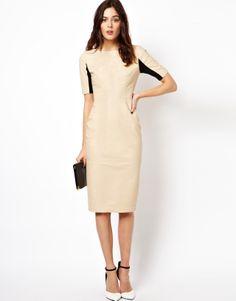 ASOS Leather Half Sleeve Midi Nude Dress.