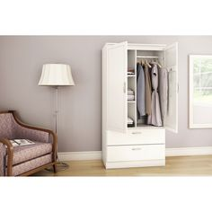 Acapella Modern 2-Drawer Armoire - Pure White : Armoires - Best Buy Canada