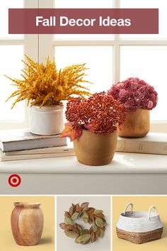 Get an early start on fall decorating with plants, wreaths & throws that lend color & cozy fall vibes to your home decor. Fall Decorating, Planter Pots, Floral Centerpieces, Cozy, Wreaths, Outdoor Gardens, Farmhouse Decor, Sweet Home, Wall Decor