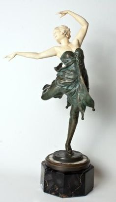 "Bruno Zach Bronze & Ivory Dancer Figure ""tanzende"