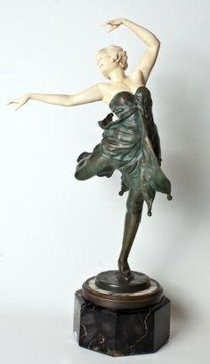"""Bruno Zach Bronze & Ivory Dancer Figure """"tanzende"""