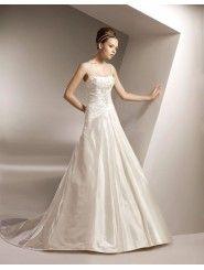Taffeta Square Neckline Delicately Pleated Bodice A-line Wedding Dress