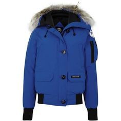 Canada Goose Chilliwack blue fur-trimmed jacket (£690) ❤ liked on Polyvore featuring outerwear, jackets, padded jacket, canada goose, flight jacket, blue jackets and blouson jacket