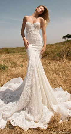 gala galia lahav spring 2017 strapless sweetheart lace mermaid wedding dress (704) mv train