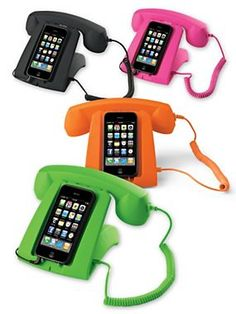 The reasoning behind this item is that one (I)  will never forget where she put her (my) phone!  --  The Talk Dock - Phone Charging Stand - Cell Phone Handset (from Solutions)