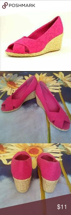 """Chaps size 6.6 wedges Chaps dakoda peeptoe wedge with canvass upper and a 3"""" heel.  This is a comfortable shoe with excellent traction. chaps Shoes Wedges"""