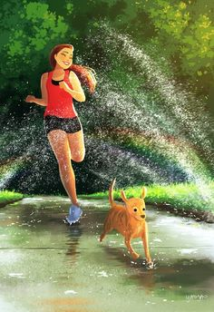 Yaoyao Ma Van As - Everywhere a rainbow - Art - Art And Illustration, Illustrations, Cartoon Kunst, Cartoon Art, Cartoon Girl Drawing, Girl Cartoon, Fantasy Kunst, Fantasy Art, Living With Dogs