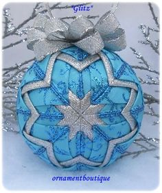 Blue Christmas Ornament Decoration Quilted by OrnamentBoutique, $22.00