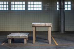 Studio in de maak - table 'knot' - yellow poplar