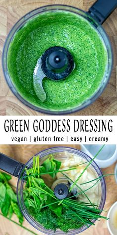 Green Goddess Dressing - Contentedness Cooking This Green Goddess Dressing is fresh, simple to make and ready in under 5 minutes. It is versatile, makes any salad better, even kids will eat salad. Naturally vegan, too. Best Vegan Recipes, Vegetarian Recipes Easy, Healthy Dinner Recipes, Keto Recipes, Goddess Dressing Recipe, Green Goddess Dressing, Sin Gluten, Roh Vegan, Easter Dinner Recipes