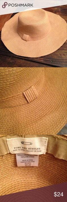 Urban outfitters straw paper floppy hat tan Good condition. Brand is pins and needles from urban outfitters. Urban Outfitters Accessories Hats