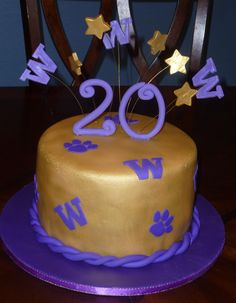 UW Cake - The client wanted a Huskies theme birthday cake for her daughter who attends the University of Washington. This is what I came up with. Tfl!