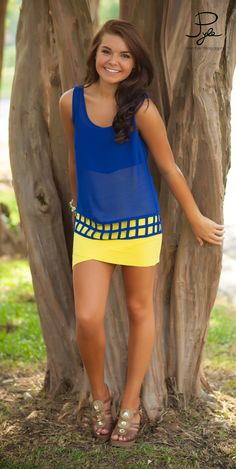 blue and yellow, skirt FFA colors Yellow Shorts, Yellow Fashion, Red Skirts, Mellow Yellow, Blue Tops, Looking For Women, Shirt Outfit, Dress To Impress, Summer Outfits