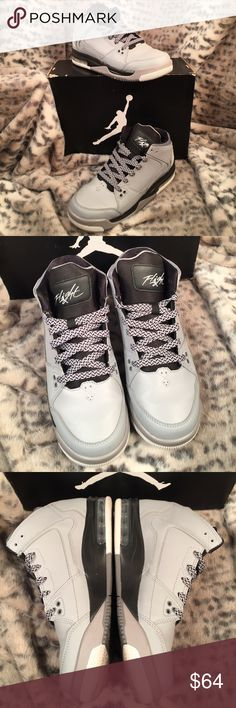 Michael Jordan's flight youth 6.5/7.5 women's Jordan Flight Origin BG wolf grey, white and black. With matching grey and black lace. Super EUC!! Worn like twice.comes with box. Box is a bit scratched up. Worn on a women's  size 7.5. Jordan Shoes Athletic Shoes