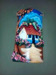 Teja con carreta muro y casita yesenia casta eda - Pintura para tejas ...