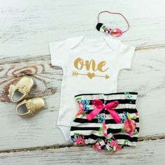 Girls 1st Birthday Outfit | Black and White Stripe and Fuchsia Floral High Waisted Bloomers Outfit | Gold One With Arrow