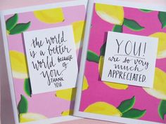 Set of 2 Encouragement Card, Friendship Cards, Cards for Teenagers, Thank You Cards, Appreciation cards, Hang In There Cards,  lc5 Lemon Background, Paper Background, Appreciation Cards, Friendship Cards, Message Card, Teenagers, I Card, Thank You Cards, Card Stock