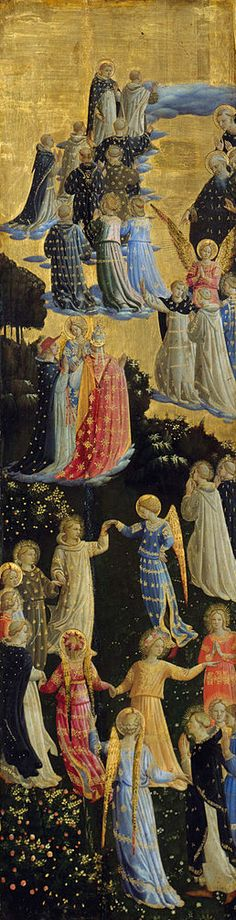 Paradise (or Heaven), the left panel of The Last Judgement tryptich, by Fra Angelico, ca.1425–1450. Tempera on panel, 102 × 28 cm