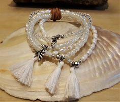 MILA - 5-er Perlenarmband - weiss Tassel Necklace, Jewelry, Fashion, Semi Precious Beads, Wristlets, Moda, Jewlery, Jewerly, Fashion Styles