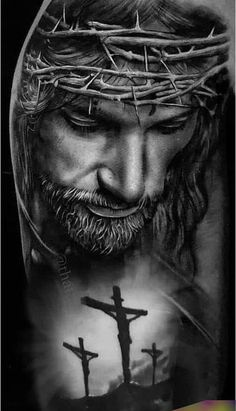 Jesus Tattoo Sleeve, Religious Tattoo Sleeves, Sleeve Tattoos, Jesus Tatoo, Christus Tattoo, Jesus Tattoo Design, Angel Tattoo Designs, Jesus Drawings, Heaven Tattoos