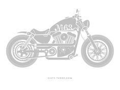 Studio 63 - Motorcycle Illustration - Harley Davidson Sportster Custom - Patrick Carter Design