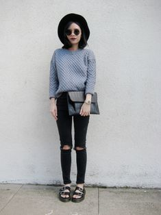 Love the Jeans and clutch, not to keen on the doc/stocks :D Guys you are crazy, this is my most repinned Pin and I'm not even that fond of it haha x