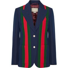 Gucci Striped wool and silk-blend crepe blazer ($3,450) ❤ liked on Polyvore featuring outerwear, jackets, blazers, navy, navy blue jacket, patterned blazer, slim fit navy blazer, navy wool blazer and wool jacket