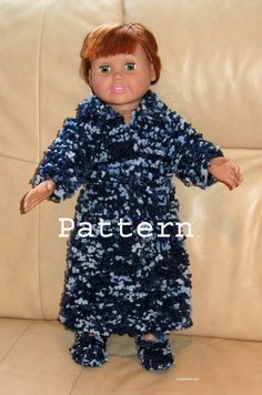 Soft Bath Robe with Belt and Slippers for 18 Doll    Easy Knit Pattern with images  Knit in Garter Stitch and Novelty Yarn Materials:    4