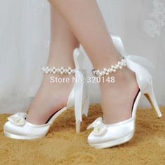 e55eb2408659 Woman High Heel Wedding Shoes White Ivory Round Toe Platform Pearls Ankle  Strap Bow Satin Lady Prom Evening Bridal Pumps EP11074-in Women s Pumps  from Shoes ...