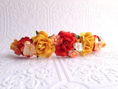 The Orange and Yellow Goddess Floral Crown on Etsy, $24.99