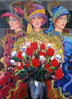 Three Ladies 2004 41x33 by Otto Aguiar - Limited Edition Print   Hand Embellished Giclee on Canvas   30 x 22 inches   76 x 56 cm