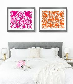 Otomi Mexican set bedroom decoration with 2 prints inspired by . - Mexican style homes - Welcome Home Decor Mexican Style Homes, Mexican Home Decor, Mexican Folk Art, Mexican Bedroom Decor, Diy Home Decor Bedroom, Nursery Wall Decor, Bedroom Wall, Design Bedroom, Bed Design