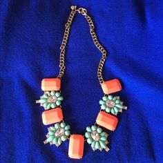 Coral/Aqua/Gold-colored chain necklace Superb condition. No scratches. Beautiful colors. Adjustable chain. J. Crew Jewelry Necklaces