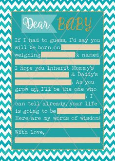 Baby Shower MadLibs Printable Game Chevron turquoise teal orange sand surf, Dear Baby MadLibs Shower game