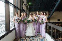 Iris lavender purple lace and mesh bridesmaid dresses by David's Bridal | Photo Breanna Elizabeth Photography