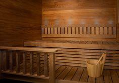 Holzverkleidung für Sauna aus den Thermokiefer, #holz #sauna #thermokiefer Sauna, Outdoor Furniture, Outdoor Decor, Bench, Wood, Home Decor, Wooden Panelling, Interior Home Decoration, Decoration Home
