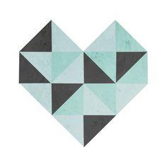 Geometric Heart (Blue) Art Print