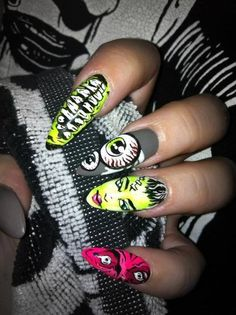 31 days of Halloween Nail Art. 31 days of Halloween Nail Art. Nail Design Stiletto, Stiletto Nails, Halloween Nail Designs, Halloween Nail Art, Women Halloween, Maquillage Pin Up, Cute Nails, Pretty Nails, Hair And Nails