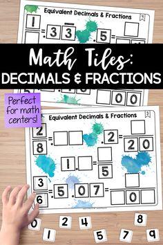 Math Tiles: Equivalent Decimals and Fractions Teaching Fractions, Math Fractions, Teaching Math, Dividing Fractions, Teaching Ideas, Fraction Activities, Math Resources, Math Activities, Division Math Games