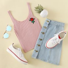 Rose Patch Ribbed Tank Top