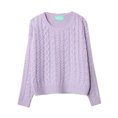 Vintage Round Neckline Cable- Knit Sweater ($26) ❤ liked on Polyvore featuring tops, sweaters, shirts, long sleeves, extra long sleeve shirts, purple sweater, round neck shirt, cable-knit sweater and long sleeve shirts