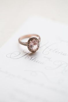 Rose gold and pink diamond engagement ring: http://www.stylemepretty.com/canada-weddings/2014/10/21/romantic-canada-wedding-at-ancaster-mill/ | Photography: Karyn Louise - http://karynlouisephotography.com/