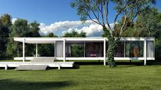 Working on the latest Ace Hotel, the Farnsworth House was one of Commune's big inspiration, connecting hotel design to modernist architecture in Chicago, including the one of Ludwig Mies van der Rohe. Casa Farnsworth, Mid Century Landscaping, Illinois, Villa, Walter Gropius, Ludwig Mies Van Der Rohe, Classical Architecture, Architecture Exam, Residential Architecture