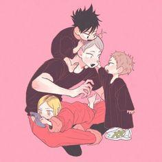 Lev with baby Kuroo Yaku and Kenma